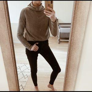 Grey Knit Turtleneck Sweater